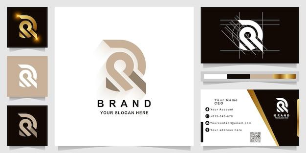 Modèle de logo monogramme lettre r ou dr avec conception de carte de visite
