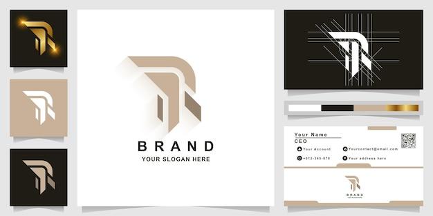 Modèle de logo monogramme lettre r ou rr avec conception de carte de visite