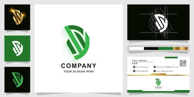 Modèle de logo monogramme lettre sy ou d avec conception de carte de visite