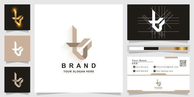 Modèle de logo monogramme lettre t ou tv avec conception de carte de visite