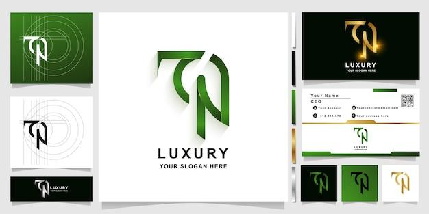 Modèle de logo monogramme lettre tn ou ton avec conception de carte de visite