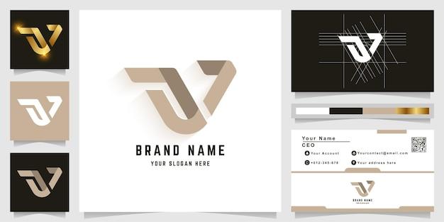 Modèle de logo monogramme lettre w ou a7 avec conception de carte de visite