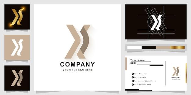 Modèle de logo monogramme lettre x ou xr avec conception de carte de visite