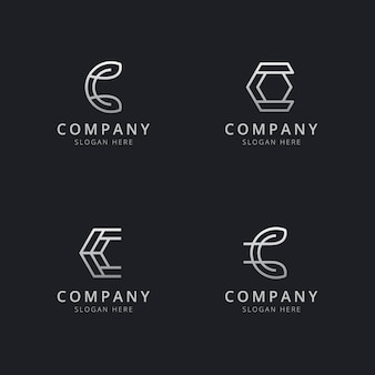 Modèle de logo monogramme ligne c initiales avec une couleur de style argent pour l'entreprise