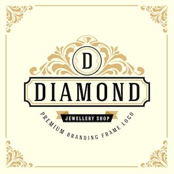 Modèle de logo monogramme de luxe vintage