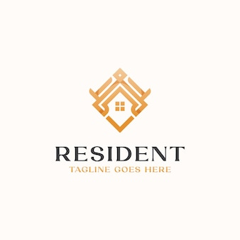 Modèle de logo de monogramme de maison de toit