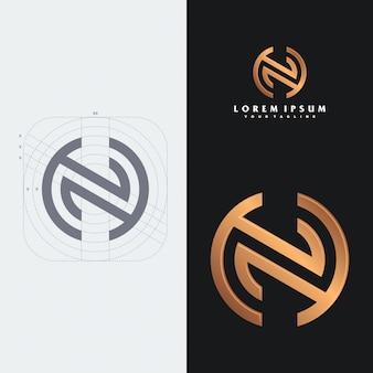Modèle de logo monogramme nh.