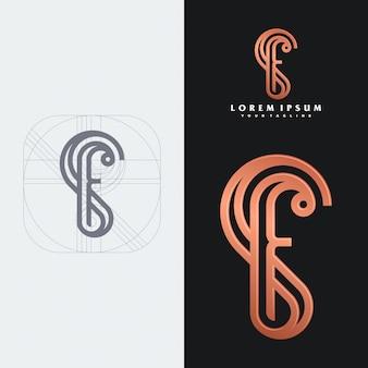 Modèle de logo monogramme sf