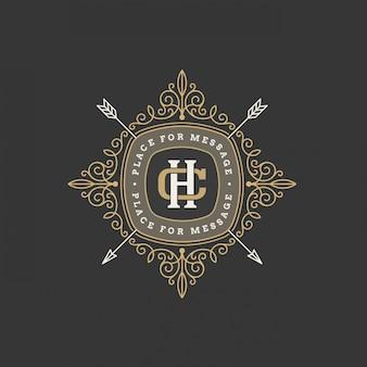 Modèle de logo monogramme vintage avec des éléments d'ornement élégant calligraphique.