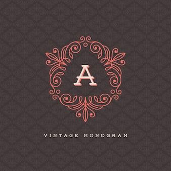 Modèle de logo monogramme vintage - fleurit le cadre calligraphique avec la lettre sur un fond de modèle ornemental