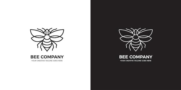Modèle de logo monoline abeille minimaliste