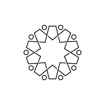 Modèle de logo monoline de contour de diversité de travail d'équipe de famille de dix personnes