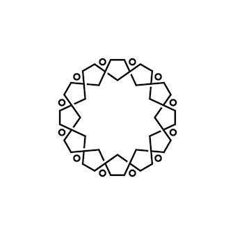 Modèle de logo monoline de contour de diversité de travail d'équipe de famille de douze personnes