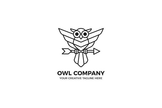 Modèle de logo monoline de hibou noir minimaliste