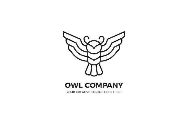 Modèle de logo monoline noir hibou simple