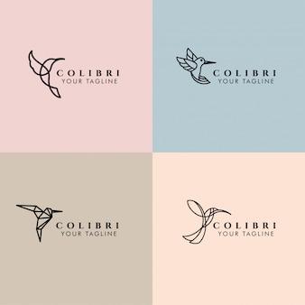 Modèle de logo monoline préfabriqué colibri