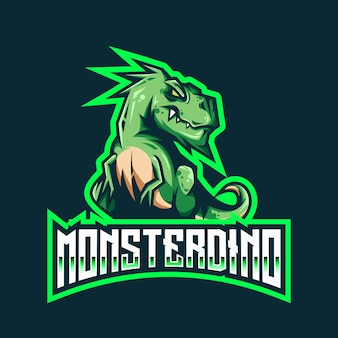 Modèle de logo monster dino esport