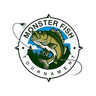 Modèle de logo monster fish isolé sur blanc