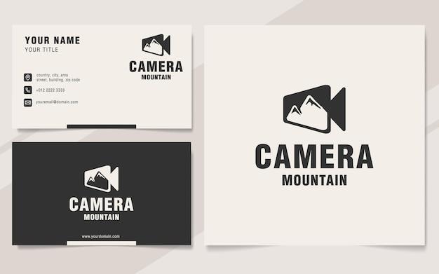 Modèle de logo de montagne de caméra sur le style monogramme