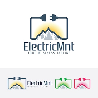 Modèle de logo de montagne électrique