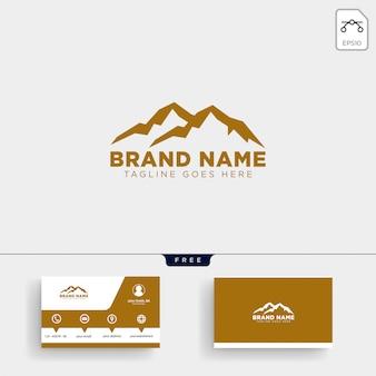 Modèle de logo de montagne m initial et conception de carte de visite