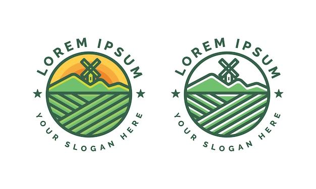 Modèle de logo de montagne et moulin à vent