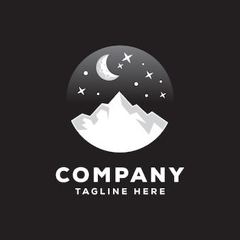 Modèle de logo montagne nuit