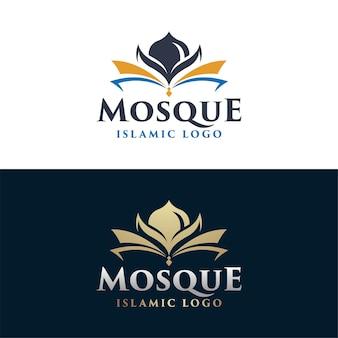 Modèle de logo de mosquée de vecteur de conception de modèle de logo islamique vecteur premium