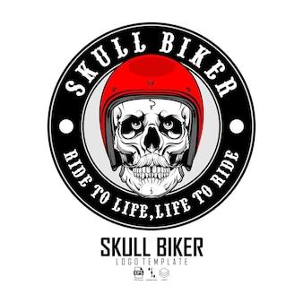 Modèle de logo de motard crâne