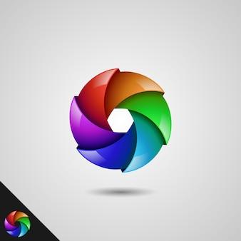 Modèle de logo moulin à vent coloré