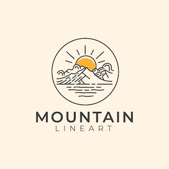 Modèle de logo mountain lineart