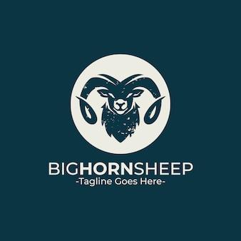 Modèle de logo de mouton grande corne