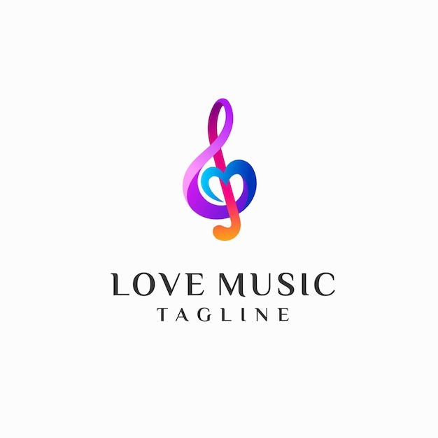 Modèle de logo de musique d'amour