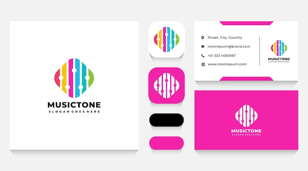 Modèle de logo de musique colorée et carte de visite
