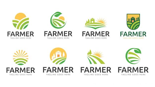 Modèle de logo nature agriculteur jardin