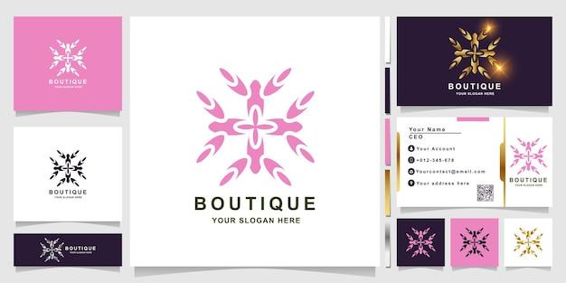 Modèle de logo nature, fleur, boutique ou ornement avec conception de carte de visite. peut être utilisé pour la conception de logo de spa, de salon, de beauté ou de boutique.