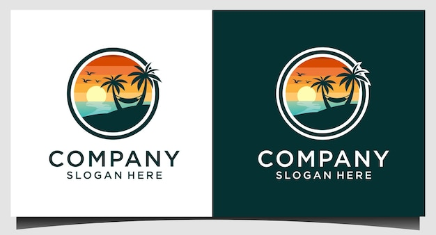 Modèle de logo nature plage été