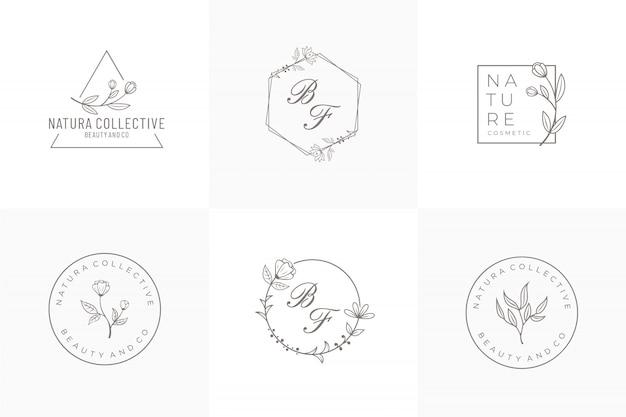 Modèle de logo naturel, design dessiné à la main