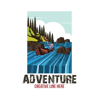 Modèle de logo de navire d'aventure