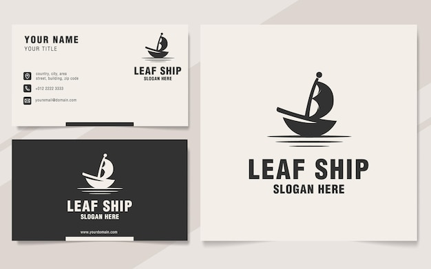 Modèle de logo de navire feuille sur le style monogramme