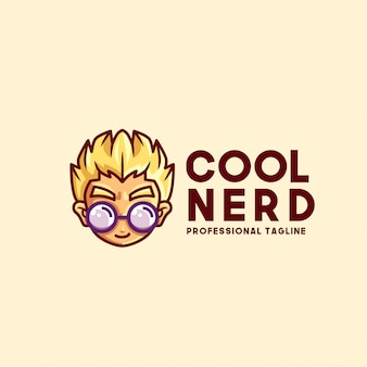 Modèle de logo nerd cool