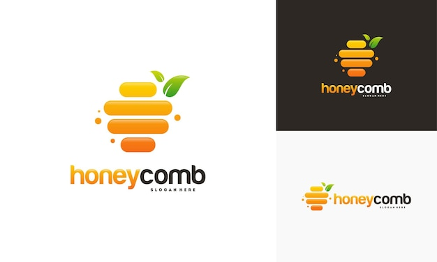Modèle de logo en nid d'abeille et carte de visite
