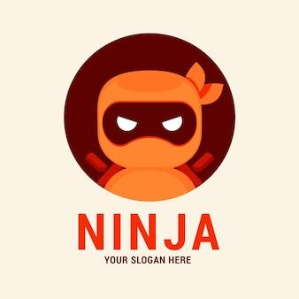 Modèle de logo ninja au design plat