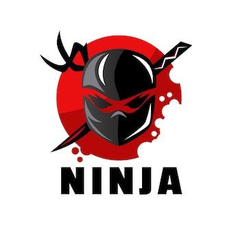 Modèle de logo ninja design plat