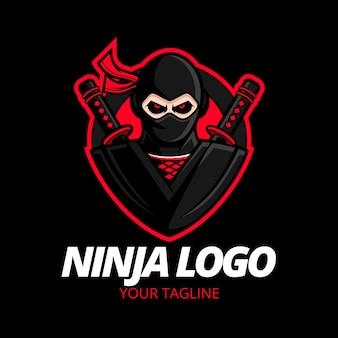 Modèle de logo ninja détaillé