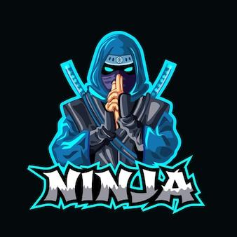 Modèle de logo ninja avec détails