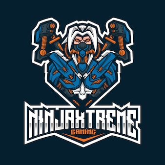 Modèle de logo ninja extreme esport