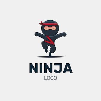Modèle de logo ninja plat linéaire