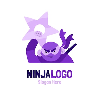 Modèle de logo ninja plat