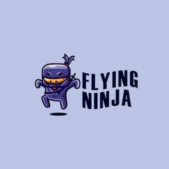 Modèle de logo ninja volant